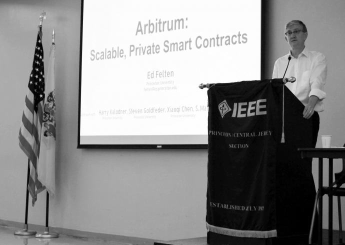 Princeton University Professor Edward Felten was one of four keynote speakers at this year's IEEE Sarnoff Symposium. Felten discussed scalable, smart contracts.
