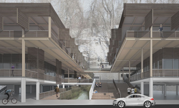 A rendering of a capsized strip mall created by Lara Saleh '14. The placemaking includes oversized stairs with bleacher seating, covered shopping arcades and residential balconies.