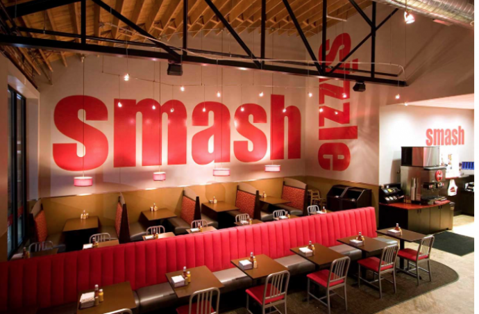 Interior design of a typical Smashburger restaurant