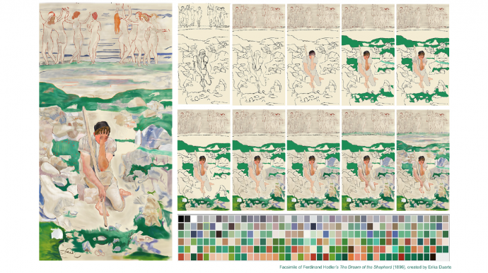 "A facsimile of Ferdinand Hodler's ""The Dream of the Shepherd"" (1896), created by Erika Duarte."