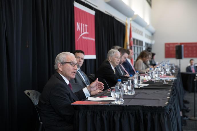 NJIT President Joel S. Bloom during opening remarks at the hearing.