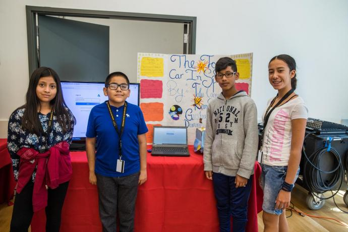"""The """"Toy Car in Space"""" team - (from left) Talia Caguana, Dominic Pina, Gustavo Gonzalez and Kiara Solano"""