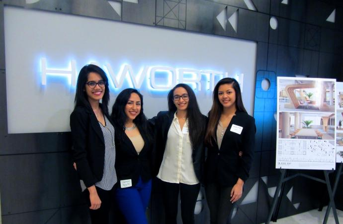 Seniors Dakshita Supawala, Stephanie Peralta, Cathrine Fahmy (NJIT IIDA Student Chapter President) and Chrysie Lozada attend the 2017 International Interior Design Association Showcase and awards presentation.