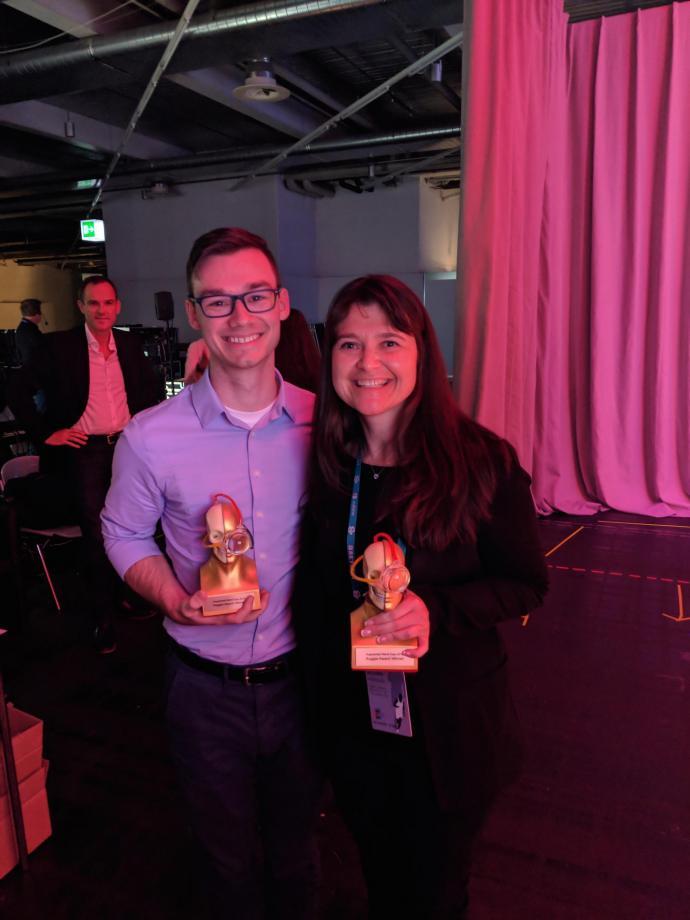 "John d'Antonio-Bertagnolli and Tara Alvarez with their Augmented World Expo Europe awards for ""most innovative breakthrough"" with VERVE"