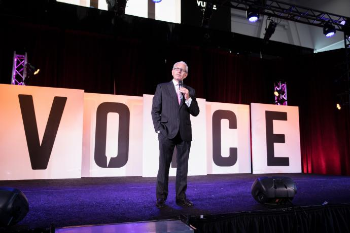 President Bloom speaks during the opening keynotes of VOICE Summit