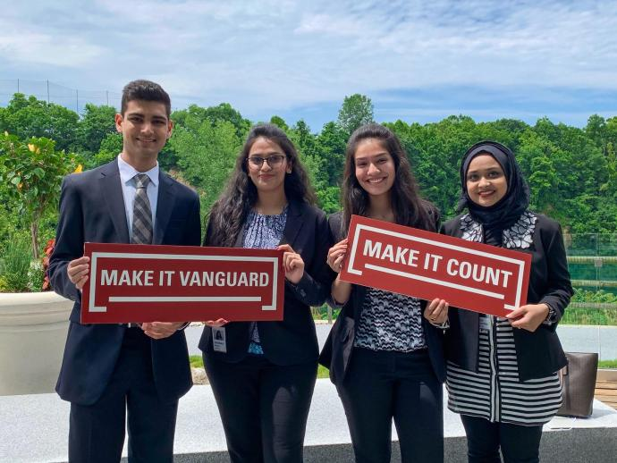 NJIT Students Lay Gandhi, Vaishnavi Patel, Mohini Desai, and Faiza Musarrat at their Vanguard internship