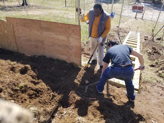 NJIT students worked on building a staircase for Oasis tlc, a nonprofit community partner of the university that promotes inclusion and acceptance of autistic individuals through farm centers.