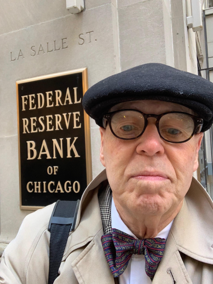 William Rapp, MTSM professor, outside the Federal Reserve Bank of Chicago, where he presented at the bank's 32nd Annual Economic Outlook Symposium