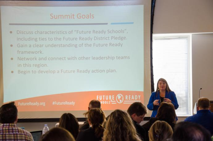 Mary Ann Wolf from the Friday Institute gave an introductory overview of Future Ready Schools-New Jersey goals.