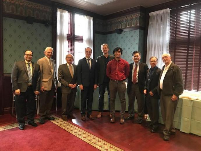 Goldwater Scholar Dylan Renaud (fourth from right) with NJIT administrators and faculty (from left) Atam Dhawan, Basil Baltzis, Joel Bloom, John Bechtold, Andrei Sirenko, Jonathan Luke, John Carpinelli and Angelo Perna.