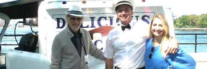 "Joe Marazzo (center) and his daughter, Alyssa, with Steven Spielberg on the set of ""Bridge of Spies."""