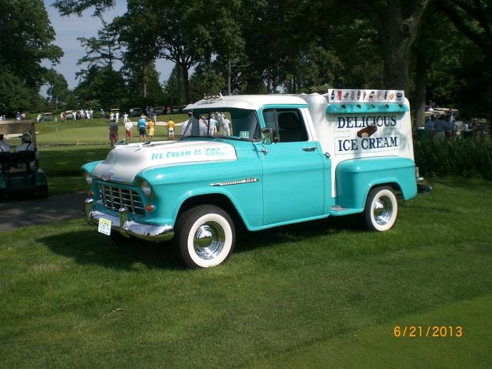Delicious Ice Cream added to its fleet with this 1955 Chevy truck.