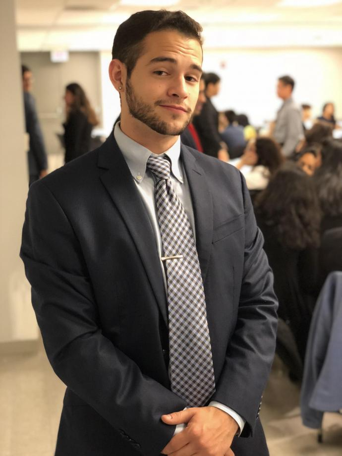 McGourty attended a dining etiquette event co-hosted by Alpha Kappa Psi in the Campus Center. He credits his business fraternity, along with CDS and friend and mentor Humberto Baquerizo '95, formerly of NJIT, with helping him in his job search.