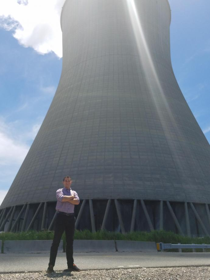 During his internship, McGourty visited the utility company's Hope Creek Nuclear Generating Station, which provides electricity to some 1.5 million customers. This cooling tower at the station recirculates cool water and funnels steam into the air.