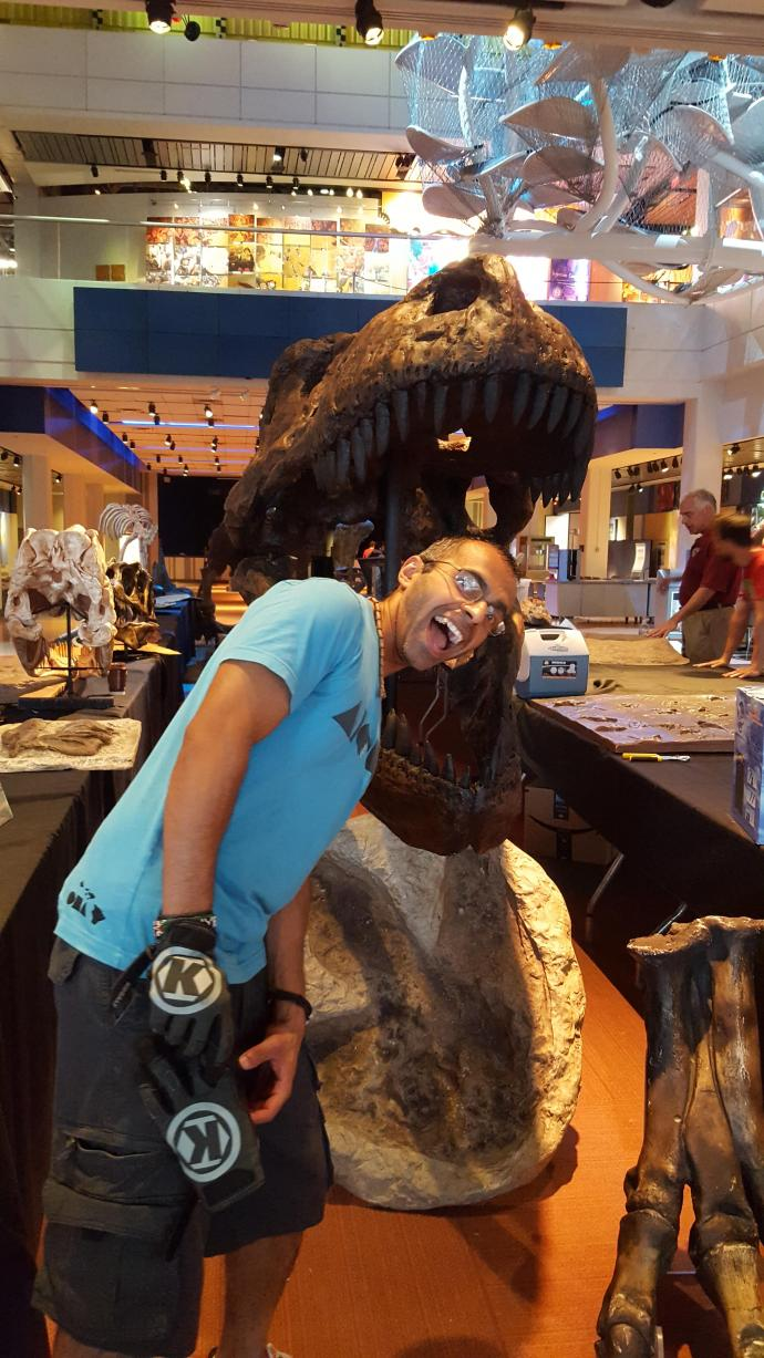 "This life-size T. rex skull, with Deepesh Dhingra in its jaw, was part of a museum event called ""Dino Days of Summer."" Dhingra helped construct a sand-filled play area where guests were able to dig up bones and learn about paleontology."