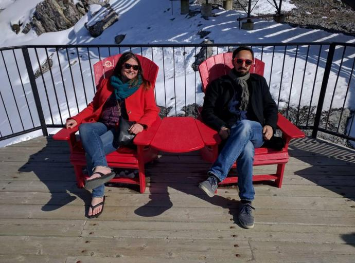 Assistant professor Amy K. Hoover and her former boss Georgios Yannakakis in Banff, Canada.