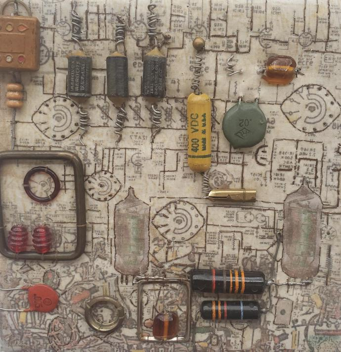 """Artwork made from electronic components. It is called """"This Too Shall Pass"""" by Diane Savona."""