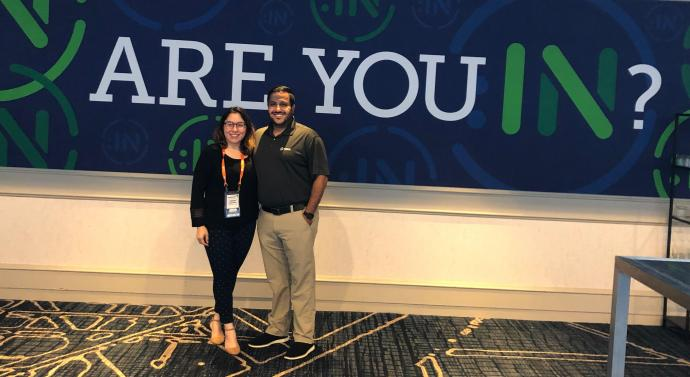 Diaz-Lopez with her hiring manager and now-mentor at Merck, Alaa Fadel, at the 2019 DisabilityIN conference.