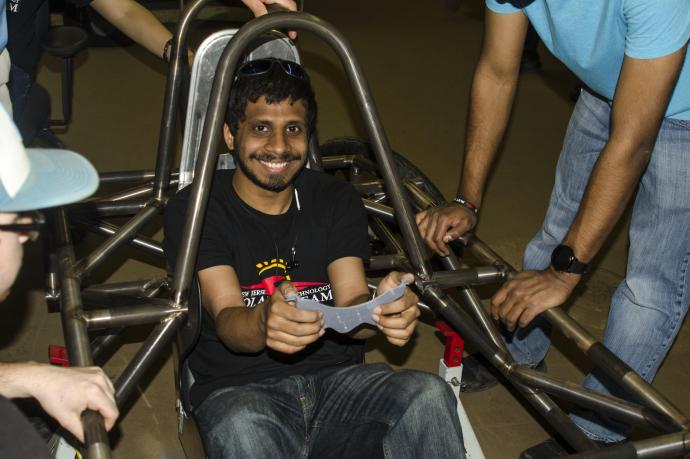 Jason Murzello is head of the electrical team for NJIT's solar car club, but also a driver.