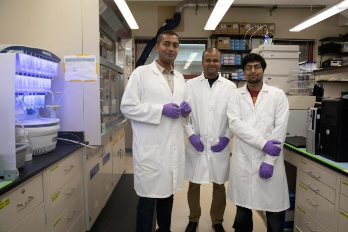 Researchers Vivek Kumar, Biplab Sarkar and Zain Siddiqui, a graduate student, in the Biomaterial Drug Development, Discovery and Delivery Laboratory.