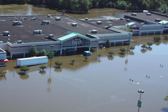 An A&P in the Plaza 23 shopping center in Pequannock is submerged in floodwaters brought on by Hurricane Irene in 2011.