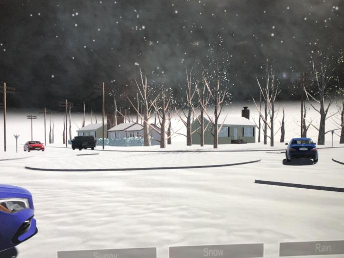 A VR simulation of the proposed roundabout in wintry conditions.