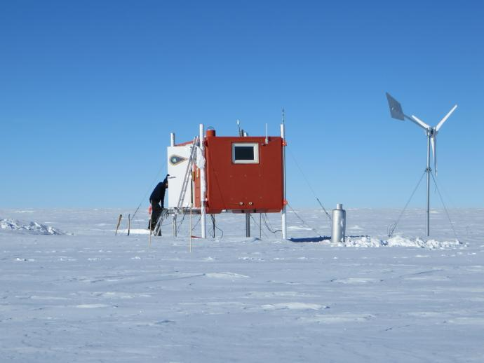One of the automatic geophysical observatories, or AGOs, that contain instrumentation maintained by NJIT